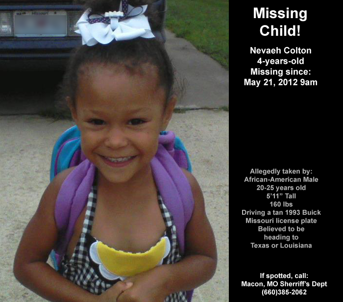 Missing Child! Nevaeh Colton